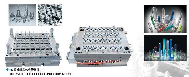 32 Cavities PET Preform Mould with Shut-Off Nozzle